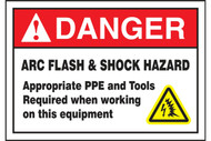 A photograph of a red and white 07333 ANSI danger arc flash label with arc flash icon.