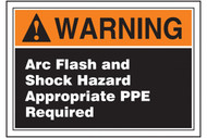 A photograph of an orange and black 07334 ANSI warning arc flash label with white text.