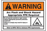 A photograph of an orange and white 07335 ANSI warning arc flash label, with detailed text and arc flash icon.
