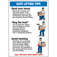 A photograph of a blue and white 12311 safe lifting tips sign with illustrations.