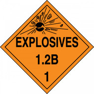 An orange and black photograph of a 03081 dot explosives placards, reading explosives 1.2B 1 with graphic.