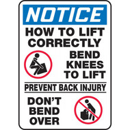 A photograph of a blue and white 12300 notice, how to lift correctly OSHA sign with instructions and graphics.