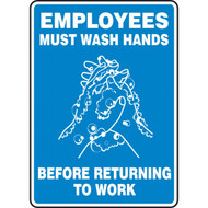 A photograph of a blue and white 03452 employees must wash hands before returning to work sign with handwashing icon.