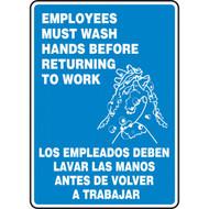 Bilingual English/Spanish Employees Must Wash Hands Before Returning To Work Signs w/ Handwashing Icon
