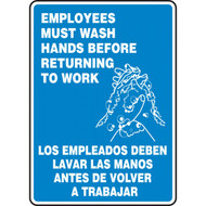 A photograph of a blue and white 03453 bilingual english/spanish employees must wash hands before returning to work sign with handwashing icon.