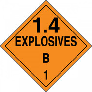 An orange and black photograph of a 03083 dot explosives placards, reading explosives 1.4B 1 with graphic.
