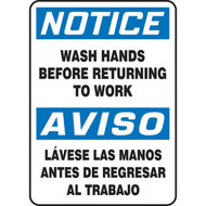 A photograph of a blue and white 03455 bilingual english/spanish notice wash hands before returning to work sign.