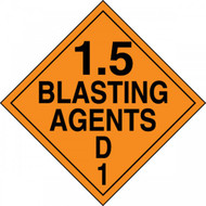 An orange and black photograph of a 03088 dot explosives placard, reading 1.5 Blasting Agents D 1.