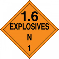 An orange and black photograph of a 03089 DOT explosives placard, reading 1.6 explosives N 1.