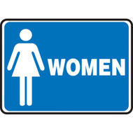 A photograph of a blue and white 03458 restroom sign, reading women with female graphic.