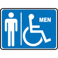 A photograph of a blue and white 03459 restroom sign, reading men with male and wheelchair graphic, in landscape orientation.