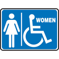 A photograph of a blue and white 03460 restroom sign, reading women with female and wheelchair graphic, in landscape orientation.