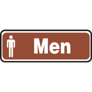 A photograph of a 03464 white on brown men sign with graphic, 10 w x  3 h.