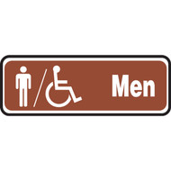 A photograph of a 03465 white on brown accessible men restroom sign with graphics, 10 w x  3 h.