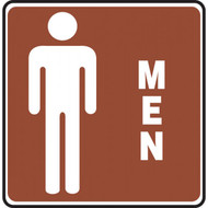 A photograph of a 03468 white on brown men sign with graphic, 10 w x  10 h.