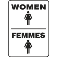 A photograph of a black and white 03470 bilingual english/french restroom sign with graphics, reading women/femmes.