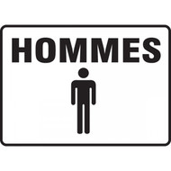 A photograph of a black and white 03471 french restroom sign graphic, reading hommes.