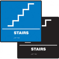 A photograph of a blue and a black 03502 ADA braille tactile sign, reading stairs with stairs icon.