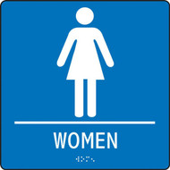 """A photograph of a blue 03513 ADA braille tactile restroom sign, reading women with female icon, and dimensions 8""""w x 8""""h."""