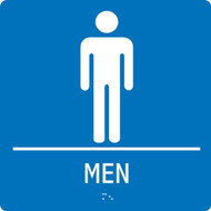 """A photograph of a blue 03514 ADA braille tactile restroom sign, reading men with male icon,  and dimensions 8""""w x 8""""h."""
