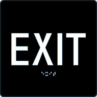A photograph of a black 03504-BK-0606 ADA braille tactile sign reading exit.