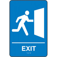 A photograph of a blue 03505 ADA braille tactile sign, reading exit with person at exit graphic.