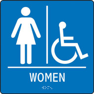 """A photograph of a blue 03520 ADA braille tactile handicap accessible women's restroom sign, reading WOMEN with accessibility icon, and dimensions 8""""w x 8""""h."""