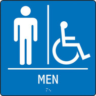 """A photograph of a blue 03520 ADA braille tactile handicap accessible men's restroom sign, reading MEN with accessibility icon, and dimensions 8""""w x 8""""h."""