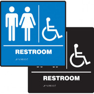 """A photograph of a blue and a black 03511 ADA braille tactile sign, reading restroom with female, male and accessibility icons, and dimensions 8""""w x 8""""h."""