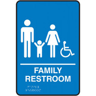 A photograph of a blue 03512 ADA braille tactile sign, reading family restroom with family and accessibility icons.