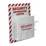 A photograph of a red and white 08216 security information center with binder.