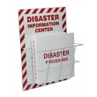 A photograph of a red and white 08217 disaster information center with binder.