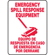 A photograph of a red and white 40002 bilingual english/spanish emergency spill response equipment sign with graphic.