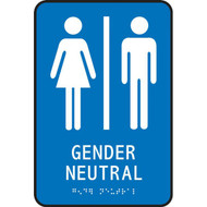 A photograph of a blue 03508 ADA braille tactile restroom sign, reading gender neutral with female and male icons.