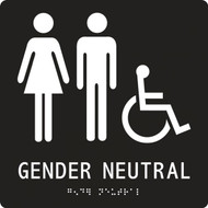A photograph of a black 03509 ADA braille tactile restroom sign, reading gender neutral with female, male and accessibility icons.