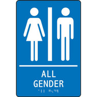 A photograph of a blue 03522 ADA braille tactile restroom sign, reading all gender with female and male icons.