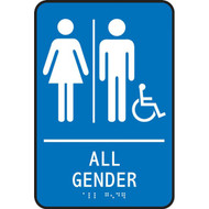 A photograph of a 03523 ada braille tactile restroom signs, all gender w/female, male and accessibility icons, blue.