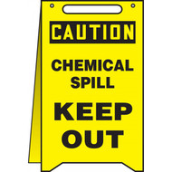 A drawing of a yellow 40003 caution, chemical spill keep out, fold-ups® freestanding sign.