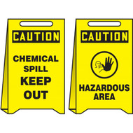 A drawing of front and back of a yellow 40004 reversible caution chemical spill keep out and hazardous area, fold-ups® freestanding sign.