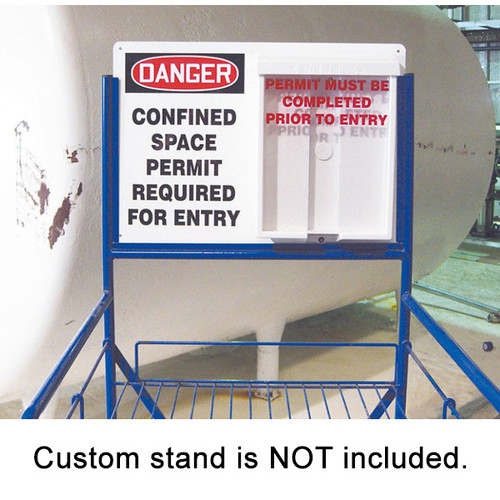 A photograph of a 08501 indoor/outdoor confined space permit station installed at facility.