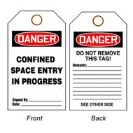 A photograph of front and back of a 08505 danger, confined space entry in progress tags.