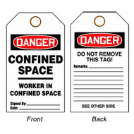 A photograph of front and back of a 08506 danger, confined space worker in confined space tags.