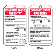 A photograph of front and back of a 08509 confined space pre-entry checklist tags.