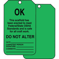 A photograph of front and back of a green 12252 scaffold ok status tag.