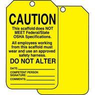 A photograph of front and back of a yellow a 12253 scaffold caution status tag.