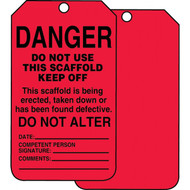 A photograph of front and back of a red 12254 scaffold danger status tag.