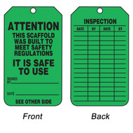 A photograph of front and back of a green 12260 scaffold attention safe to use status tag.