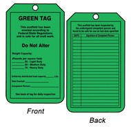 A photograph of front and back of a green 12261 weight capacity and inspection record scaffold status tag.