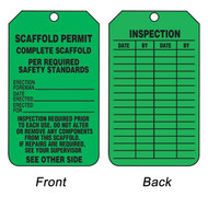 A photograph of front and back of a green 12262 complete scaffold, scaffold permit tag.
