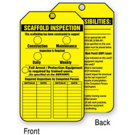 A photograph of a front and back of a yellow 12263 scaffold inspection tag.